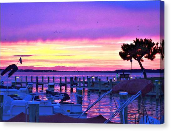 Canvas Print featuring the photograph Sunset On The Docks by Kim Bemis
