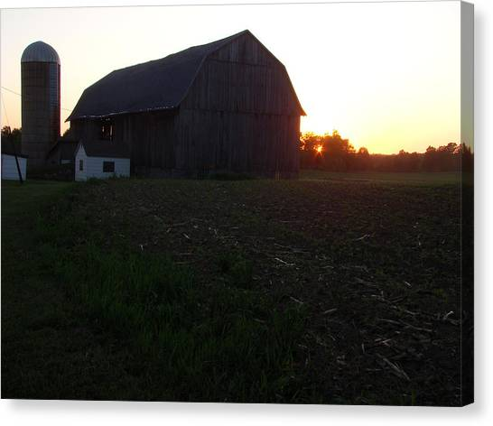 Sunset On The Farm Canvas Print by Todd Zabel