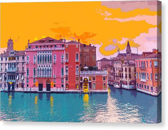 Sunset On The Grand Canal Venice Canvas Print