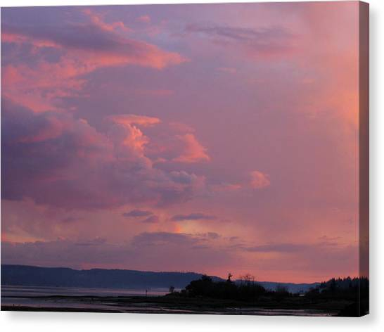 Sunset On The Hood Canal Canvas Print