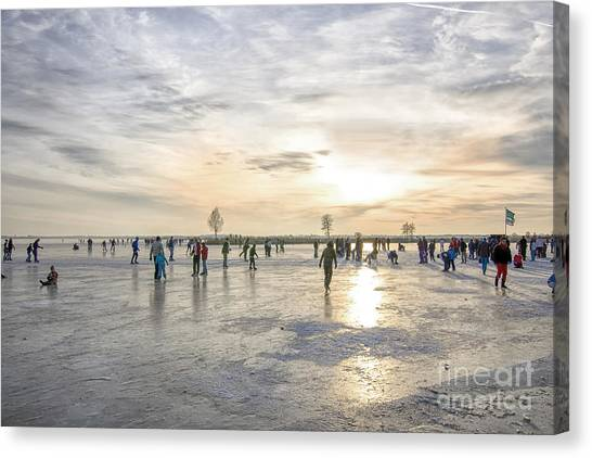 Speed Skating Canvas Print - Sunset On The Ice by Patricia Hofmeester
