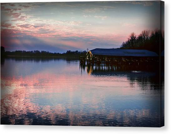 Sunset On The Lake Canvas Print by Dave Chafin