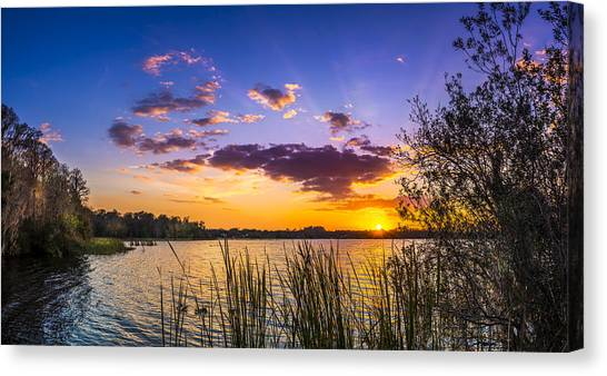 Bass Fishing Canvas Print - Sunset On The Lake by Marvin Spates