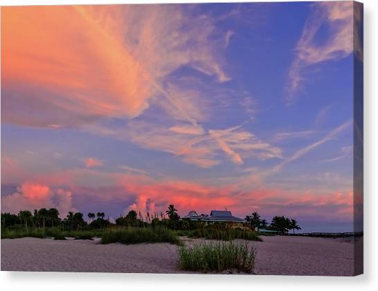 Southwest Florida Sunset Canvas Print - Sunset On The Last Day Of Summer In Florida-vs1  -  Lastsunsum998 by Frank J Benz