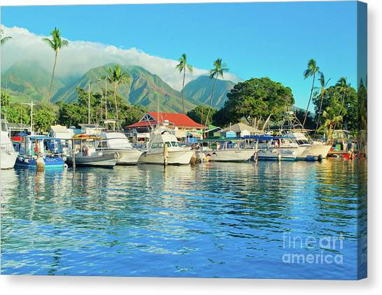 Sunset On The Marina Lahaina Harbour Maui Hawaii Canvas Print
