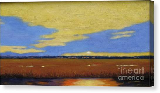 Sunset On The Marsh Canvas Print by Laura Roberts