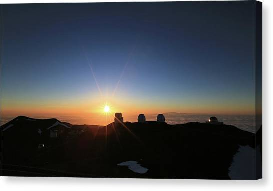 Sunset On The Mauna Kea Observatories Canvas Print