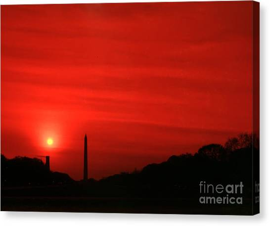 Sunset On The National Mall Washington Dc Canvas Print