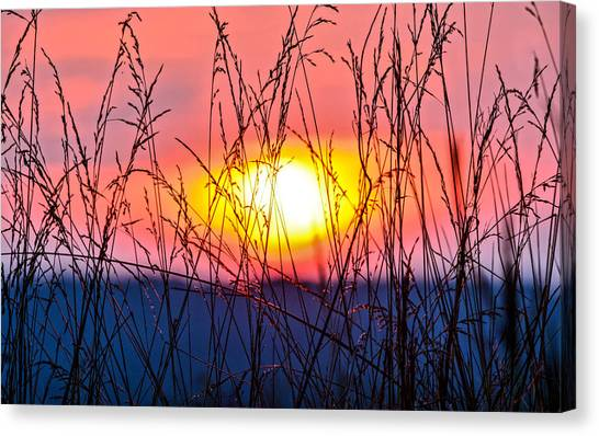 Prairie Sunrises Canvas Print - Sunset On The Prairie  by Parker Cunningham