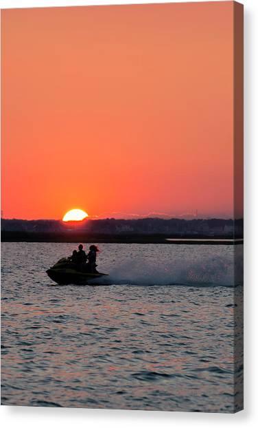 Jet Skis Canvas Print - Sunset On The Ski by Ryan Crane