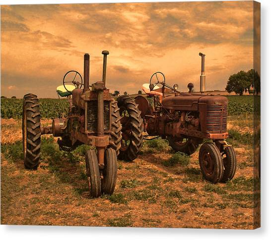 John Deere Canvas Print - Sunset On The Tractors by Ken Smith