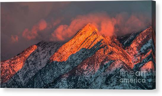 Canvas Print featuring the photograph Sunset On The Wasatch by Spencer Baugh