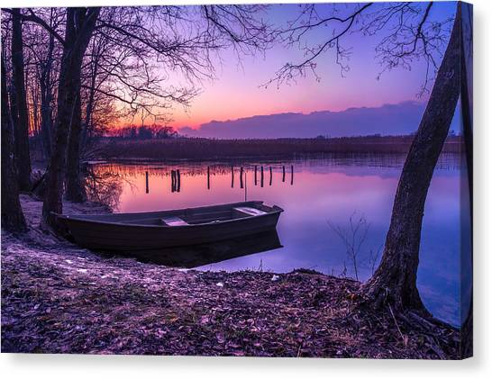 Sunset On The White Lake Canvas Print