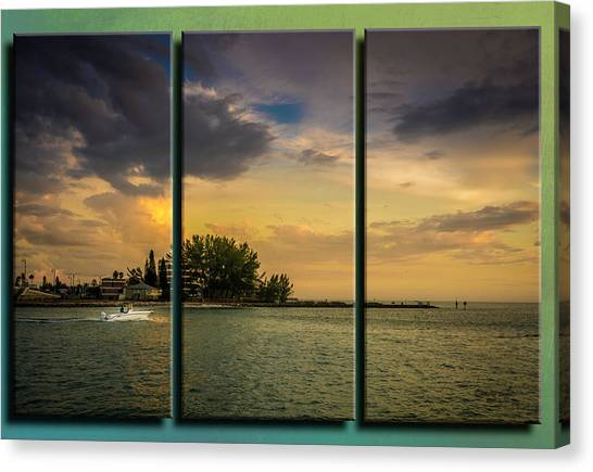 John Boats Canvas Print - Sunset Outing Triptych by Marvin Spates