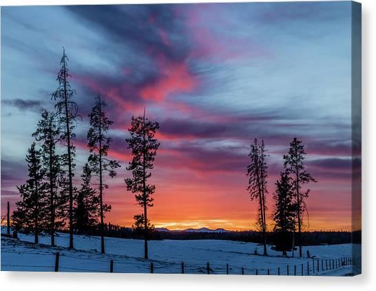 Sunset Over A Farmers Field, Cowboy Trail, Alberta, Canada Canvas Print