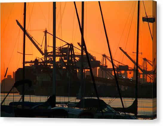 Sunset Over Alameda Harbor Canvas Print by Charles  Ridgway