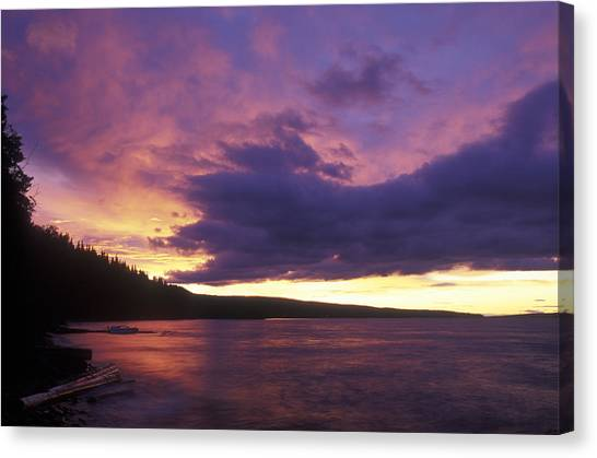 Sunset Horizon Canvas Print - Sunset Over Babine Lake At Burns Lake by Rich Reid