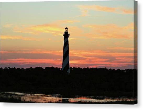 Sunset Over Cape Hatteras Light Canvas Print