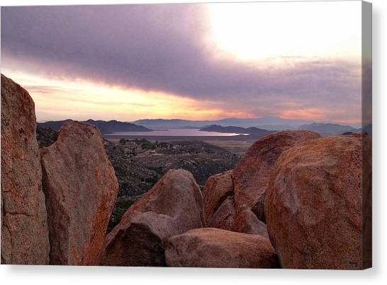 Sunset Over Diamond Valley Lake Canvas Print