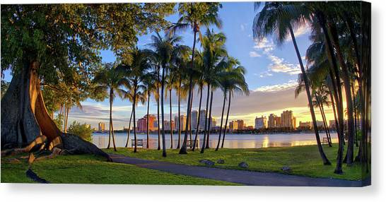 Sunset Over Downtown West Palm Beach From Palm Beach Island Canvas Print