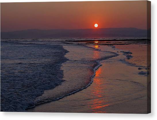 Sunset Over Exmouth Beach Canvas Print