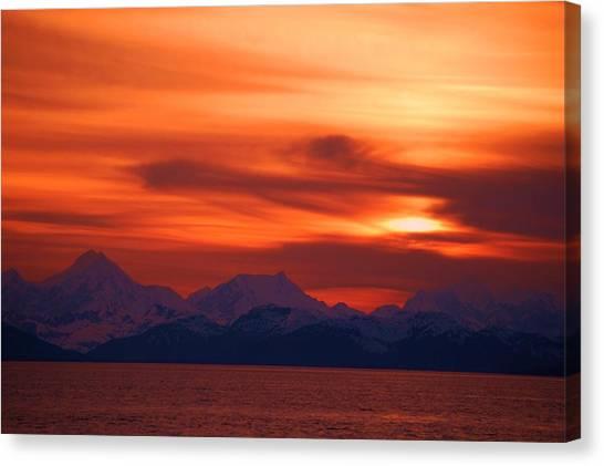 Sunset Over Glacier Bay Canvas Print