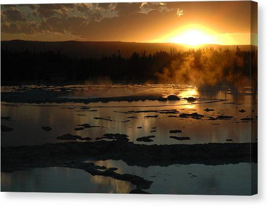 Sunset Over Great Fountain Geyser In Yellowstone National Park Canvas Print