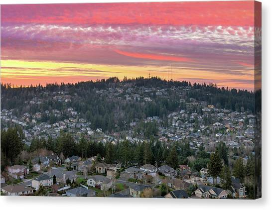 Canvas Print - Sunset Over Happy Valley Residential Neighborhood by David Gn
