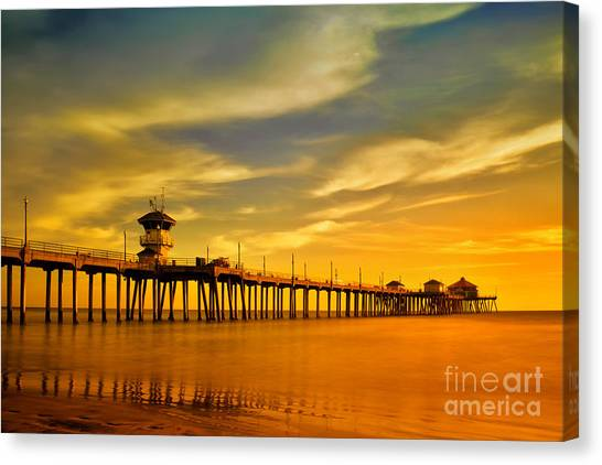 Sunset Over Huntington Beach Pier Canvas Print