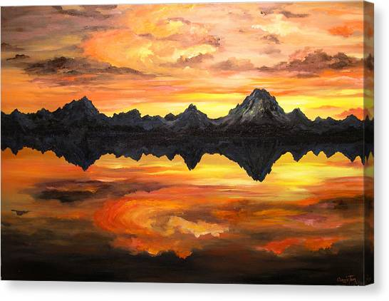 Mountain Sunset Canvas Print - Sunset Over Jackson Lake And The Grand Tetons by Connie Tom