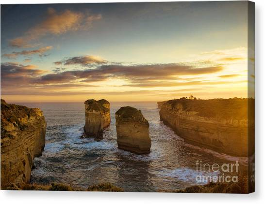 Great Otway National Park Canvas Print - Sunset Over Loch Ard Gorge With Topaz Effect by Josephine Caruana