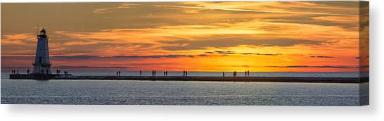 Marquette Canvas Print - Sunset Over Ludington Panoramic by Adam Romanowicz