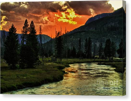Sunset Over Madison River Canvas Print