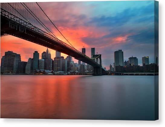 Times Square Canvas Print - Sunset Over Manhattan by Larry Marshall