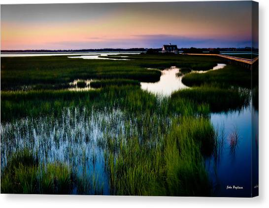 Sunset Over Marsh, Atlantic Beach, North Carolina Canvas Print