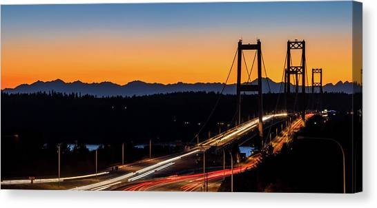 Sunset Over Narrrows Bridge Panorama Canvas Print