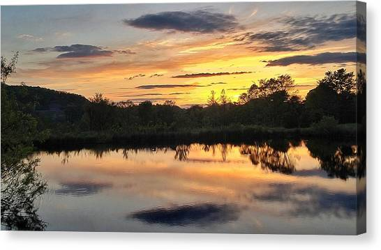 Sunset Over Pond Canvas Print