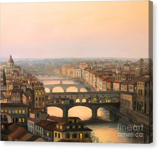 Bridge Canvas Print - Sunset Over Ponte Vecchio In Florence by Kiril Stanchev
