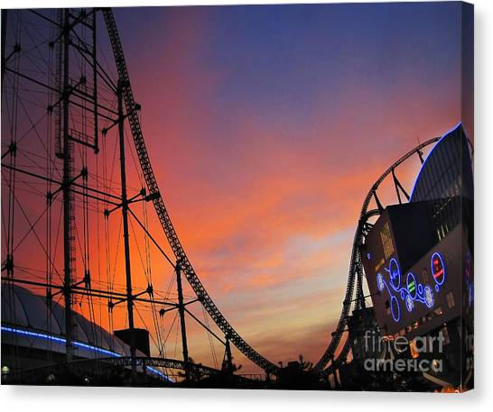 Sunset Over Roller Coaster Canvas Print