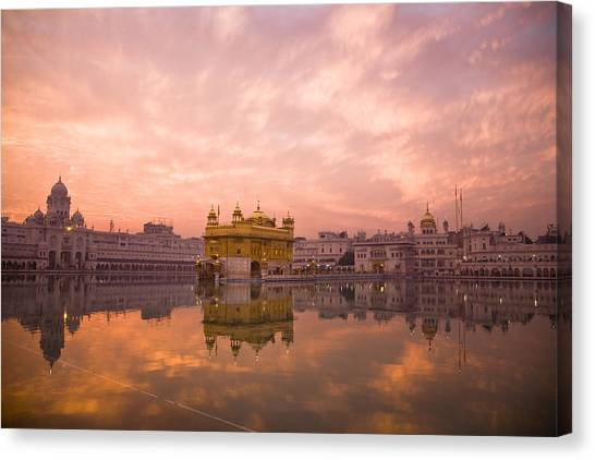 Golden Temple Canvas Print - Sunset Over Sikhisms Holliest Shrines:golden Templ by Christopher Pillitz