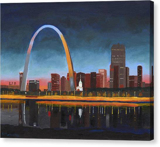 Gateway Arch Canvas Print - Sunset Over St. Louis by Robert Montano