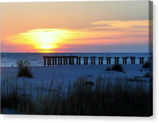 Sunset Over The Gulf Of Mexico Canvas Print by Steven Scott