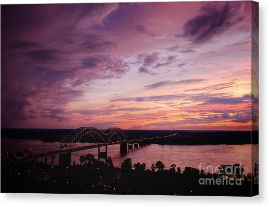Memphis Grizzlies Canvas Print - Sunset Over The I40 Bridge In Memphis Tennessee  by T Lowry Wilson