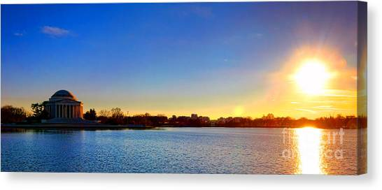 Jefferson Memorial Canvas Print - Sunset Over The Jefferson Memorial  by Olivier Le Queinec