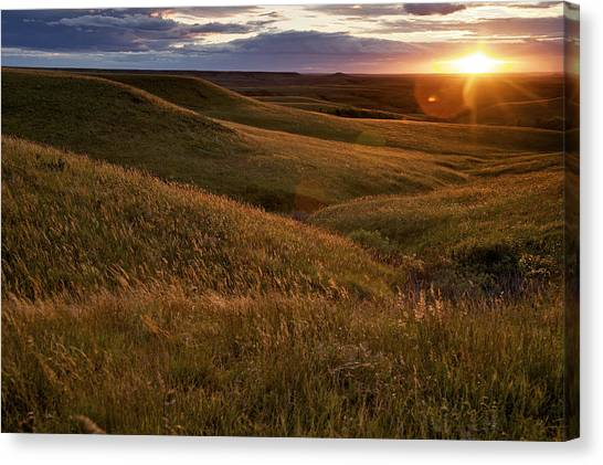 Sunrise Canvas Print - Sunset Over The Kansas Prairie by Jim Richardson