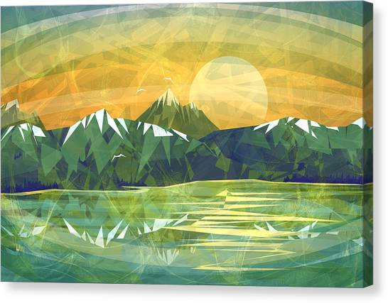 Triangle Canvas Print - Sunset Over The Mountain  by Anita Mihalyi