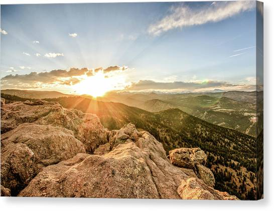 Sunset Over The Mountains Of Flaggstaff Road In Boulder, Colorad Canvas Print