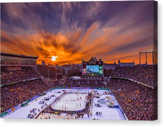 Minnesota Wild Canvas Print - Sunset Over The Nhl Stadium Series Alumni Game by Nick Peters
