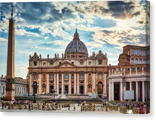 Sunset Over The Papal Basilica Of Saint Peter Canvas Print