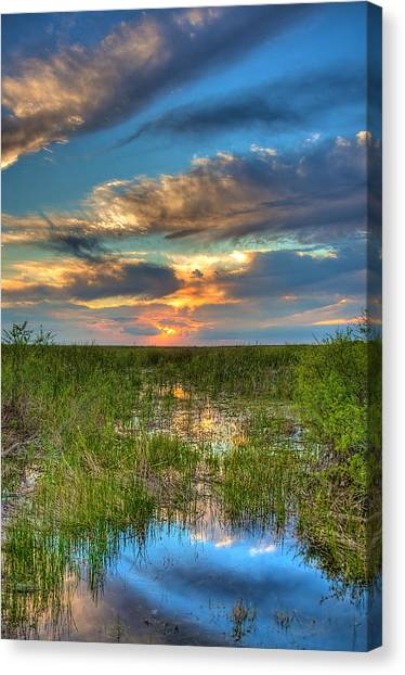 Sunset Over The River Of Grass Canvas Print